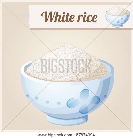 Bowl of white rice. Detailed Vector Icon