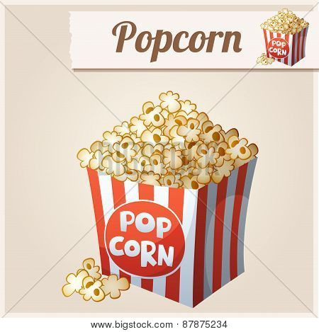 Popcorn box. Detailed Vector Icon