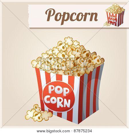 Popcorn box. Detailed Vector Icon