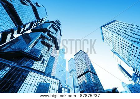 Hong kong,China:-January 26,2015: low angle view of skyscrapers in modern city hong kong.