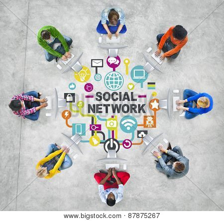 People Connection Computer Networking Communication Social Network Concept