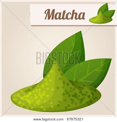 Green matcha tea. Detailed Vector Icon