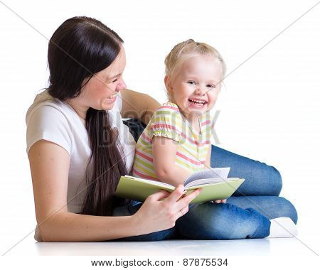 Mother is reading book with child