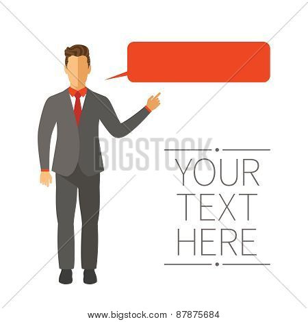 Speaking Businessman Vector Concept In Modern Flat Style