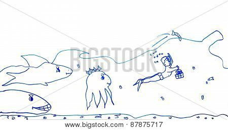 Children's Drawing Of Marine Life