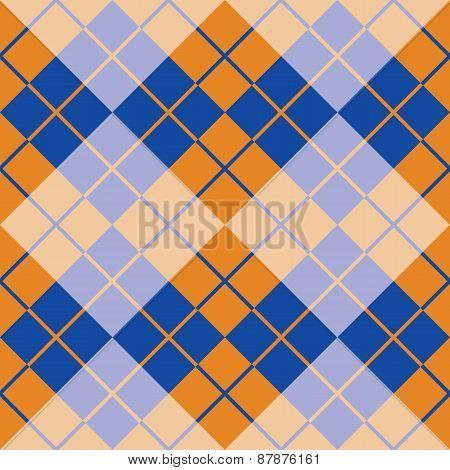 Argyle in Blue and Orange