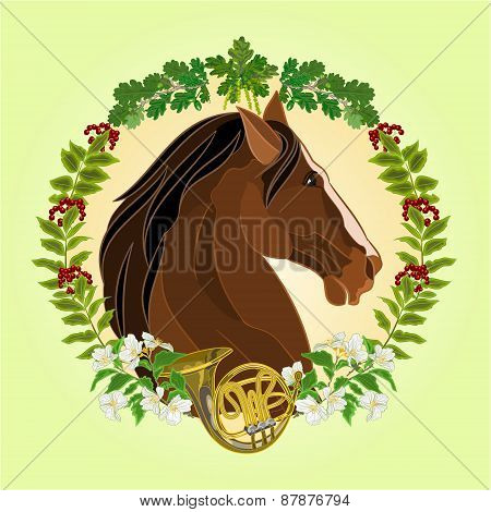 The Head Dark Brown Horse Hunting Theme Vector