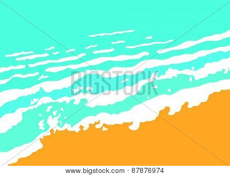 Blue sea wave and sand beach, vector illustration