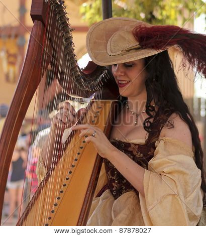 A Beautiful Harpist At The Arizona Renaissance Festival