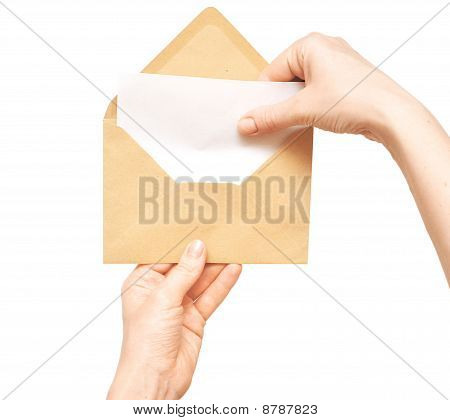 Yellow Envelope In The Hand
