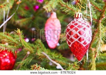 Christmas Balls On A Pine Branch.