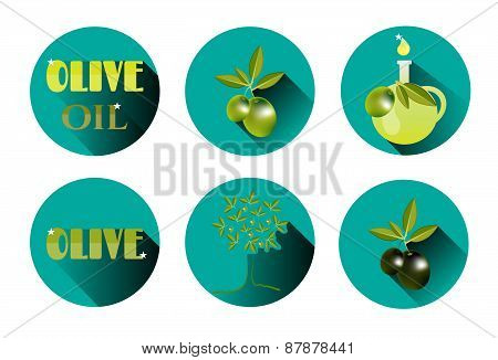 Set, group, collection of six isolated, round icons, labels, stickers with text Olive Oil, green twi
