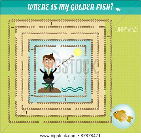 Funny maze, labyrinth - fishing, smiling businessman want to catch golden fish