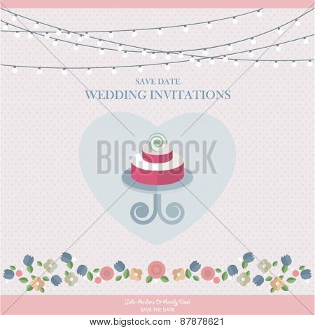 Wedding Card Invitation with wedding cake and flowers in heart vector