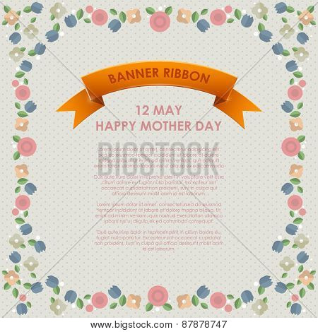 Vintage Happy Mothers's Day Background. Happy mothers day cards flat