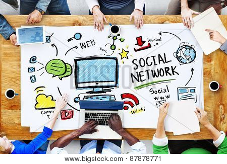 Social Network Social Media Meeting Communication Workplace Concept