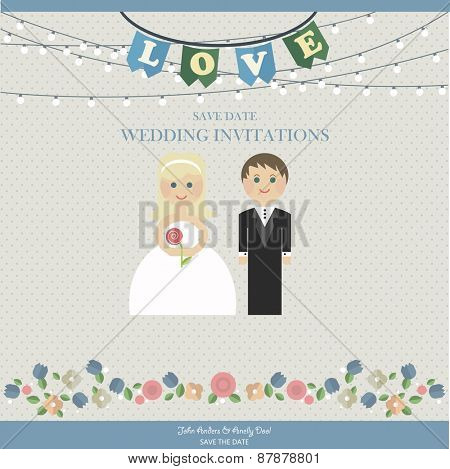 Wedding Card Invitation with wedding figures newlyweds in  flat style. Vector card