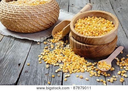 Yellow Split Peas In A Wooden Bowl