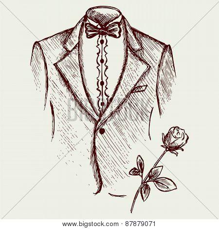 Tuxedo shirt and bowtie