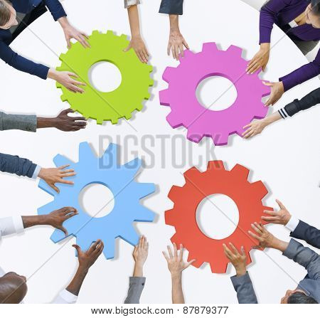 Teamwork Business Team Meeting Unity Gears Working Concept