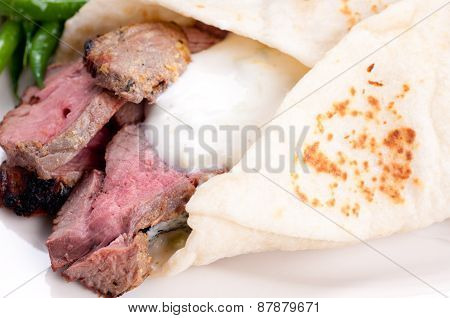Lamb Wrap In A Soft Homemade Flatbread