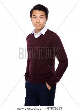 Young businessman smiles