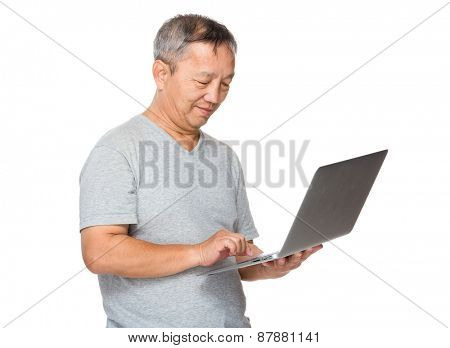 Man use of laptop computer