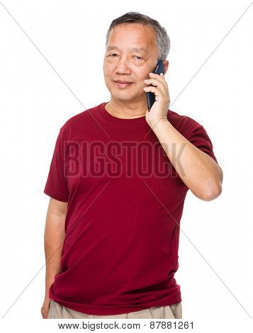 Asian man chat on cellphone