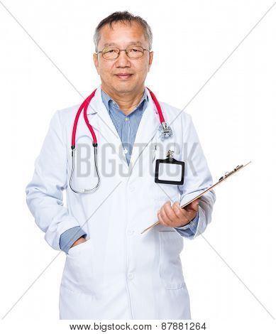 Asian old doctor with clipboard