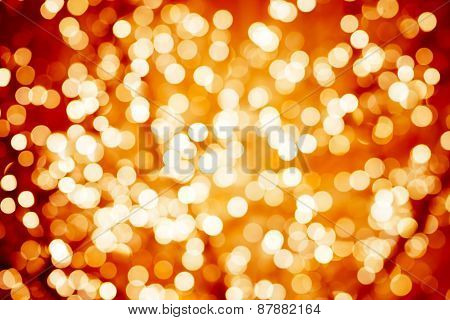 Flame-coloured Background With Natural Bokeh Defocused Sparkling Lights. Colorful Fiery Texture