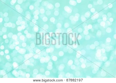 Turquoise And Mint Romantic Background With Natural Bokeh Defocused Sparkling Lights