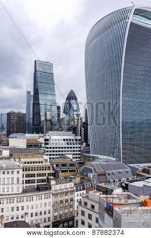 LONDON, UK - April 5 2015: The Gherkn, Grater and Talkie -The Capital's ever changing city skyline
