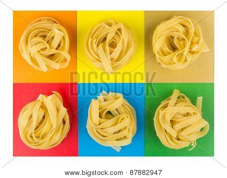 Six Pasta On Multicolored Paper