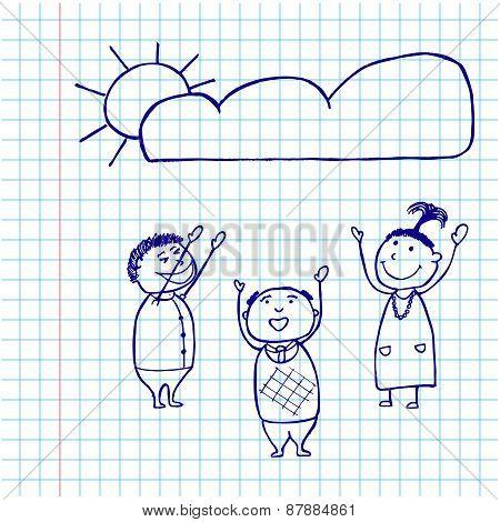 Set Of Hand Drawing Cartoon Character Happy