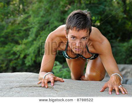 Beautiful female fitness model.