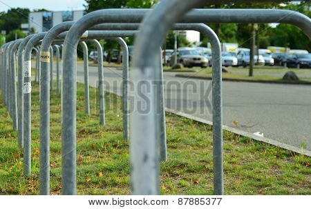 Empty bicycle parking spaces