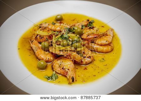 Shrimps with garlic and olive oil