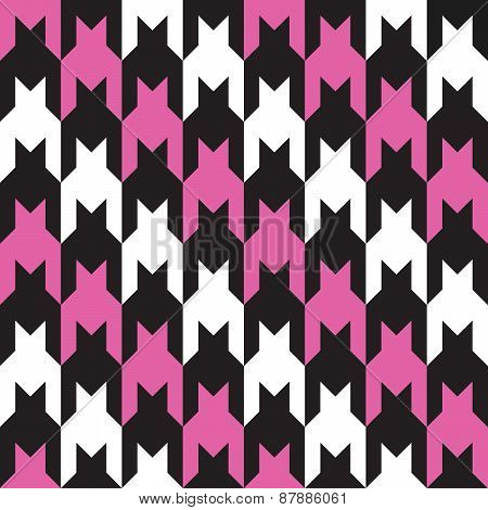 Diagonal Houndstooth in Pink and Black