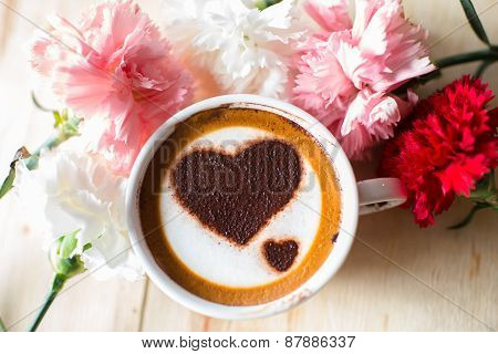 Love Message On Coffee Cup On Wooden Background With Vintage Colour Effect. Still Life.