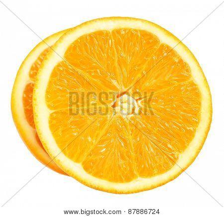 Juicy slices of orange isolated on white