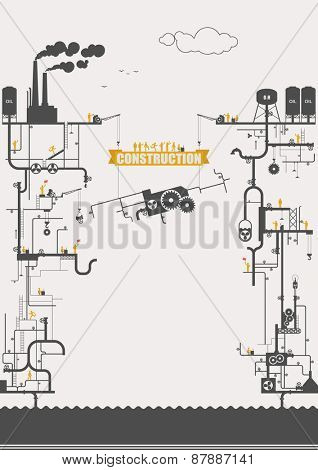 Vector concept - power station, construction ( infographic )