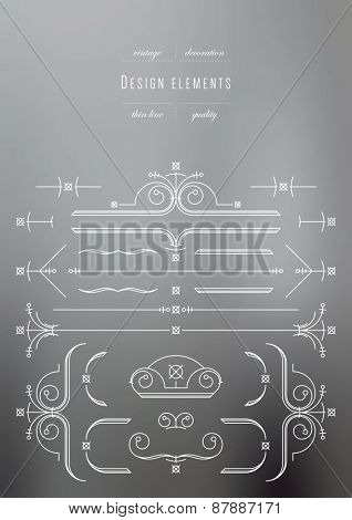 Vintage set - design elements, thin line ( variable line width )