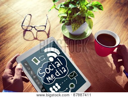 Social Media  Global Communication Connection Concept