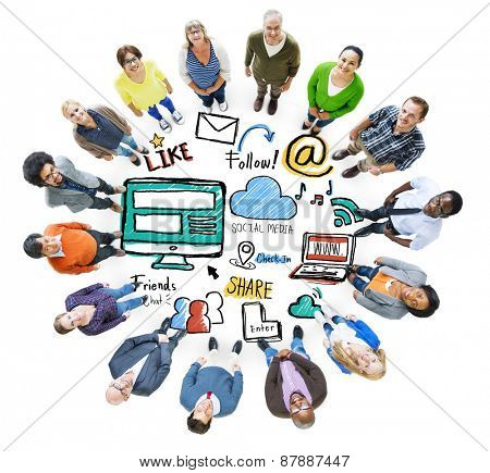 Multiethnic People Connection Corporate Social Media Concept