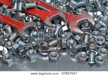Wrenches with nuts and bolts
