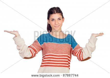 Young cool woman with her arms extended isolated on a white background