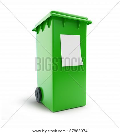 Trash Can Waste Sorting Four Green Wheeled Bin