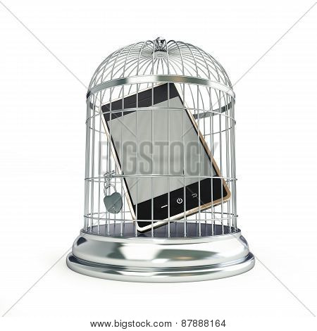 Mobile Prisoner On White Background