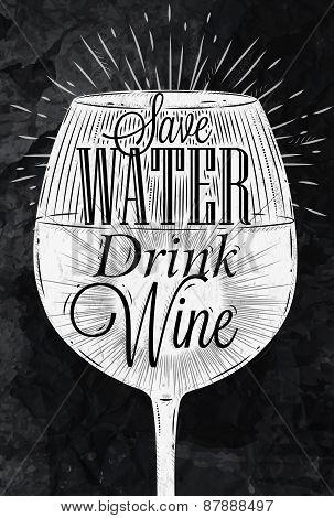 Poster vintage wine chalk