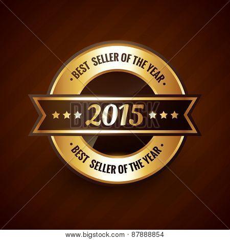 best seller of the year 2015 golden label design vector